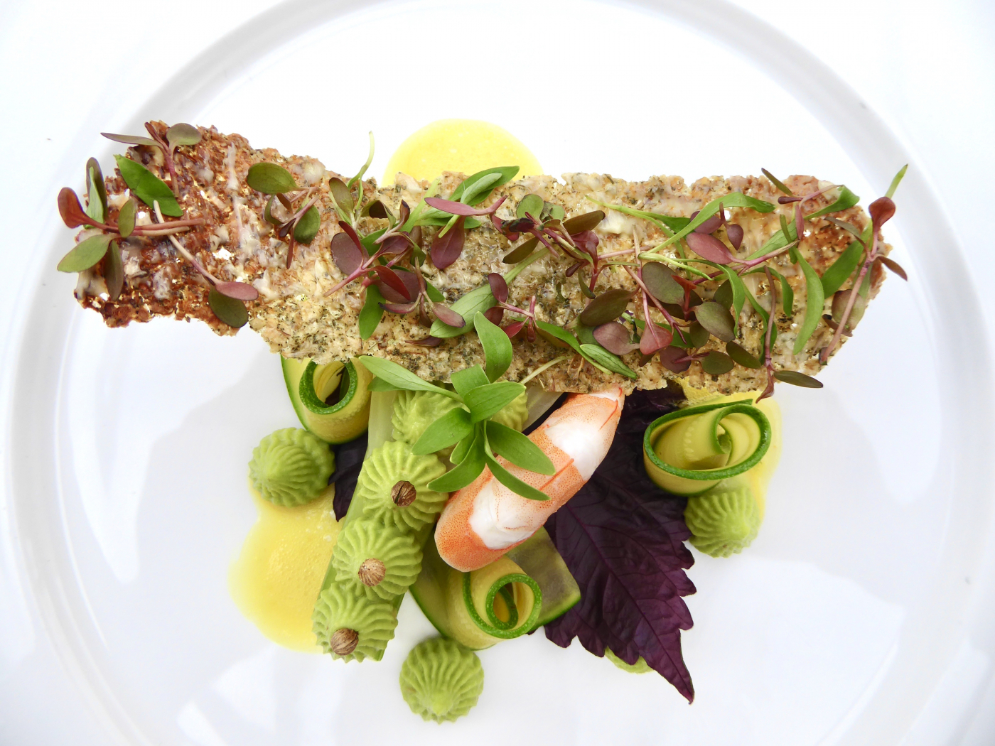 Prawn, Avocado and fennel with Oat cracker, Adji Cress, Ghoa Cress, Shiso purple. - 1