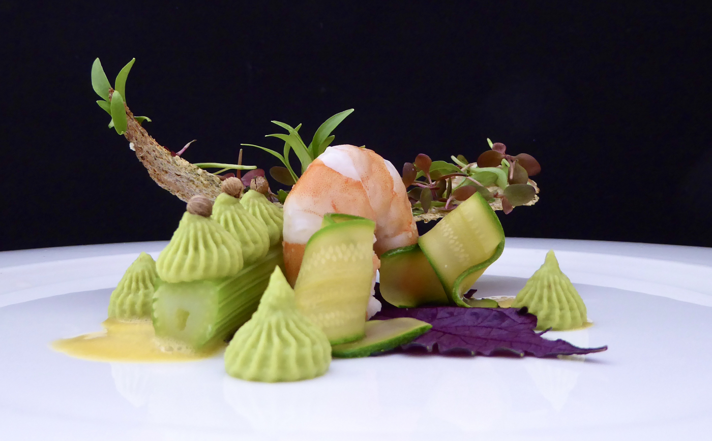 Prawn, Avocado and fennel with Oat cracker, Adji Cress, Ghoa Cress, Shiso purple. - 2