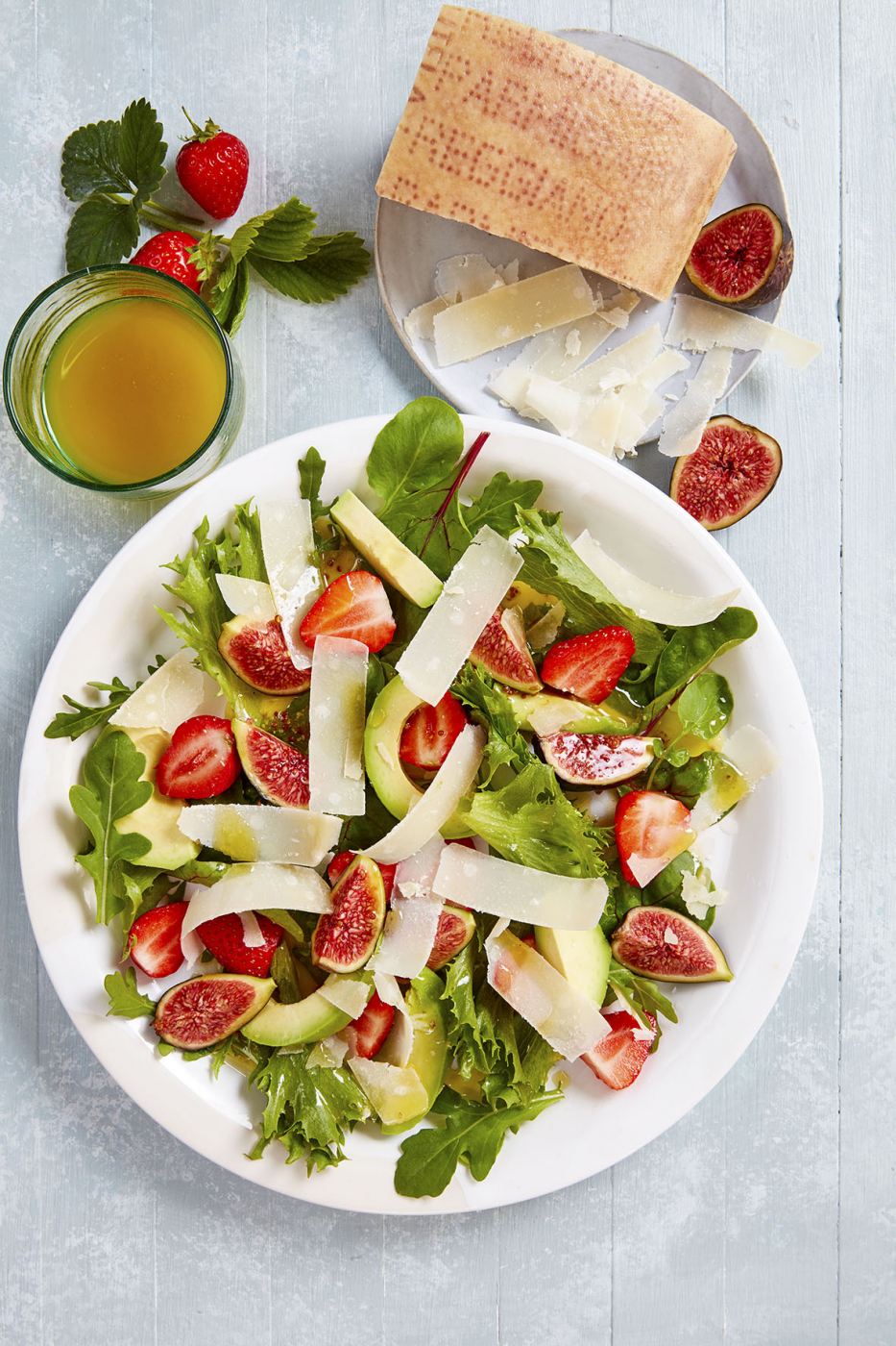 Parmigiano Reggiano Salad with Avocado, Strawberries and Figs
