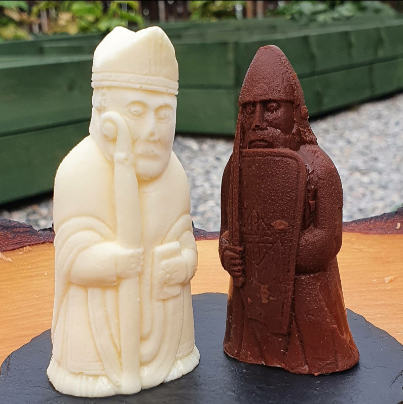 Isle Of Lewis Chessmen  Discovered in 1831 on the Isle of Lewis the original 12th century cheesmen were carved from walrus tusk! Being a lazy chef I made these ones from chocolate and pine