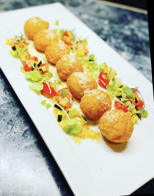 Arancini with Greek salsa, garlic aioli and Parmesan