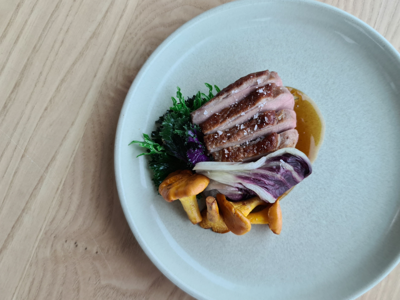 Goosnargh duck breast, variegated kale, radicchio & chantarelle's.