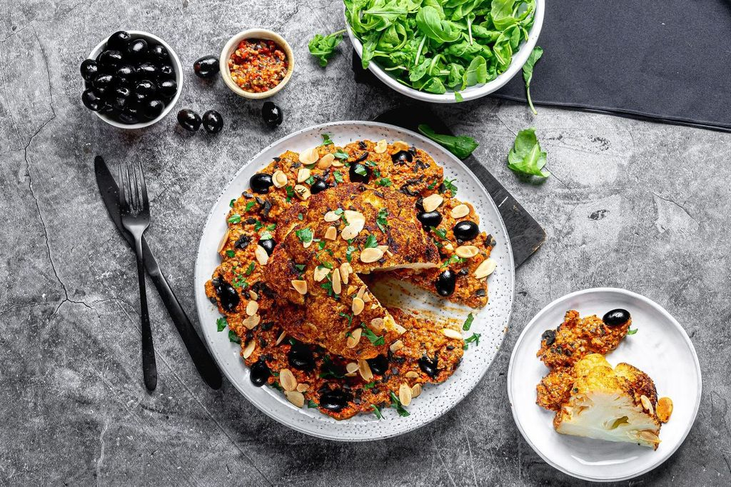 Roast spiced cauliflower with romesco and olives by José Pizarro