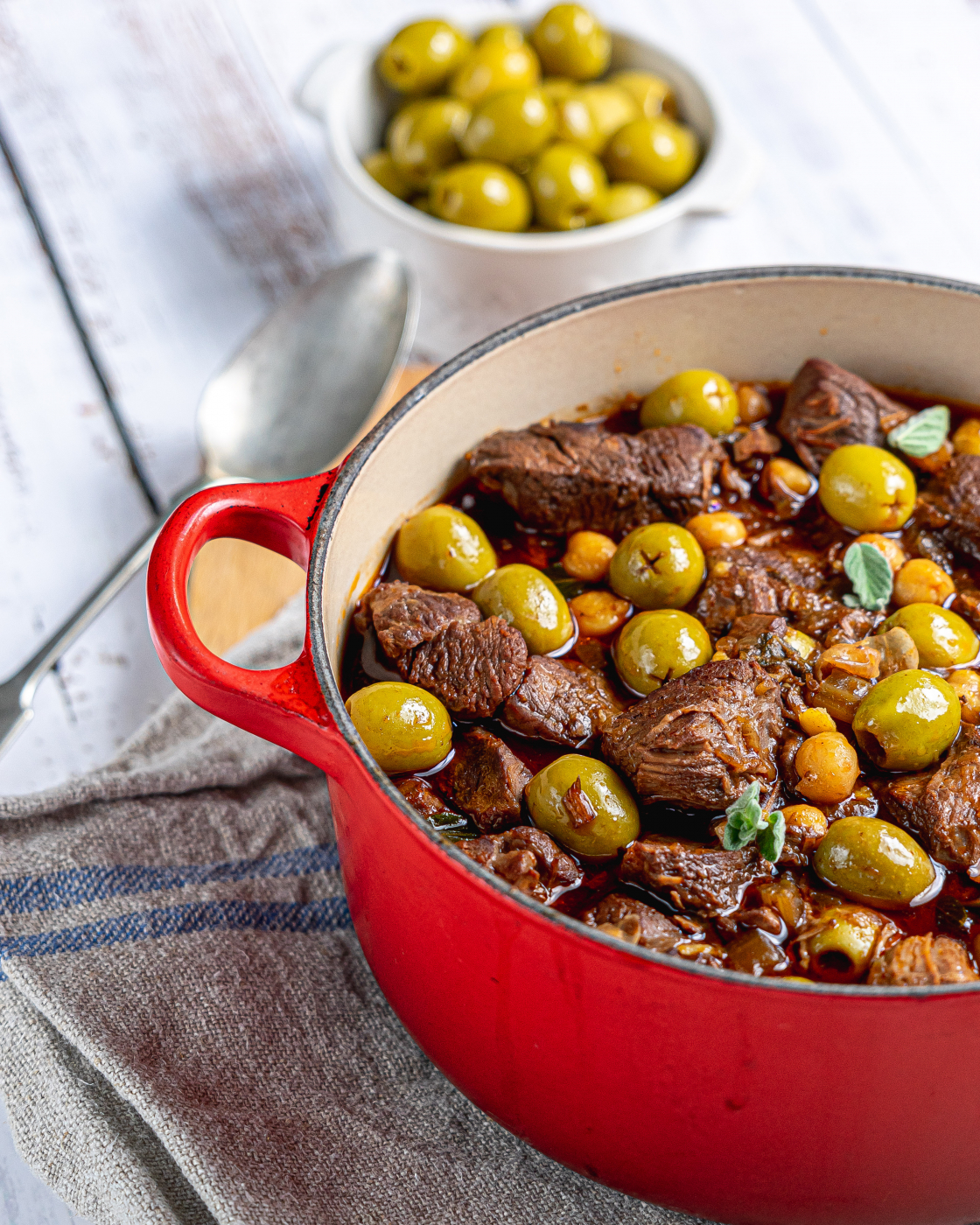 Rioja braised beef and olives with chickpeas by José Pizarro