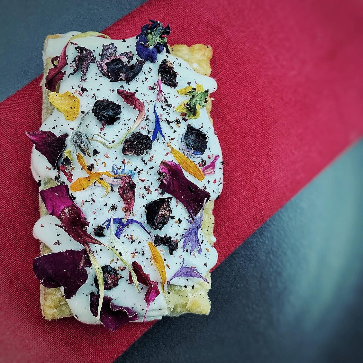 Wildflower pop tart, dried & fermented blueberries