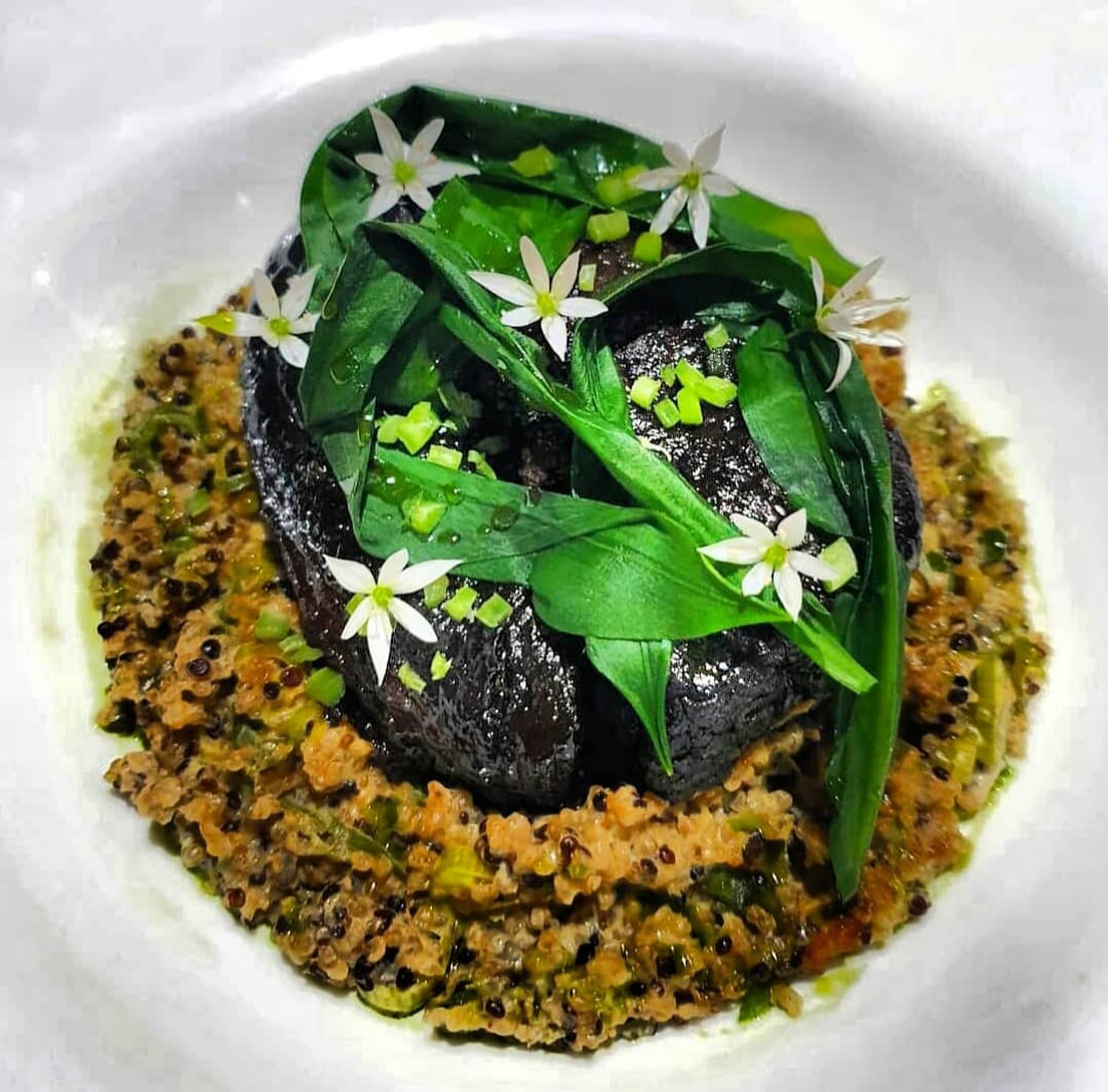 Glazed brisket with quinoa cooked risotto style,wilted wild garlic and pickled wild garlic stems
