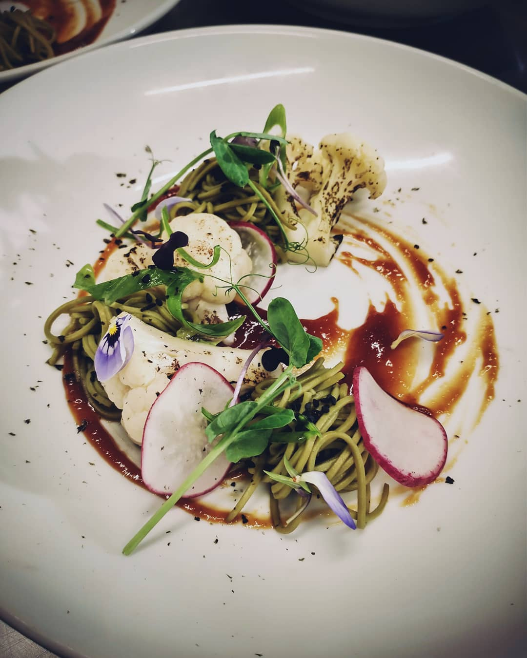New entree Charred Cauli W/ caramelised misoGreen tea soba noodles