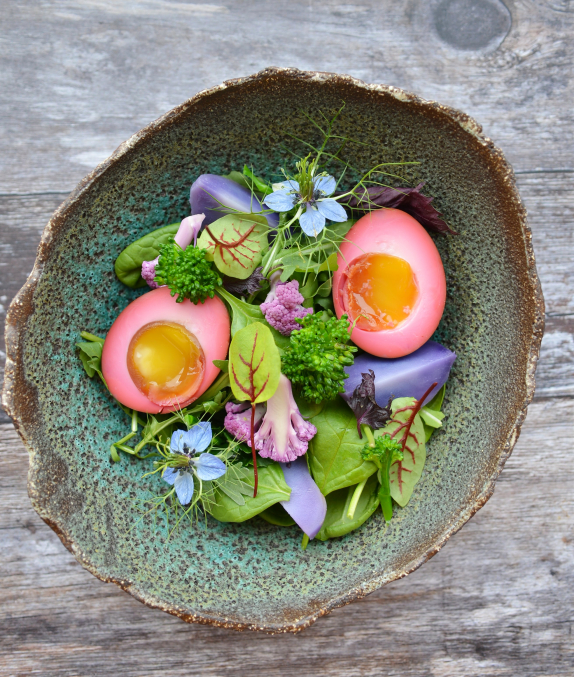 Salad with 72h Marinated Egg in Fermented Beetroot Juice, Purple Potato, Broccoli