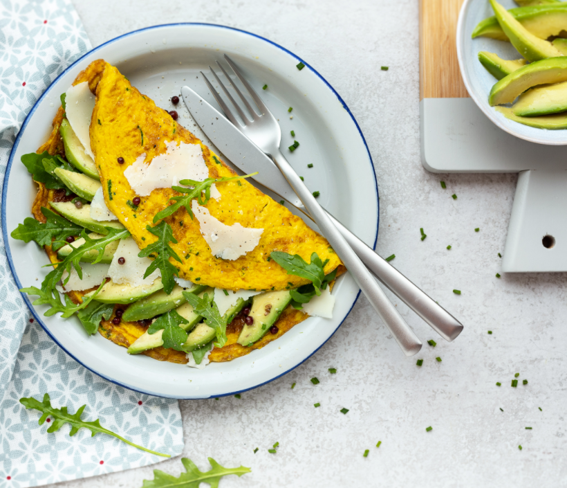 Omelettes with avocado, Parmigiano Reggiano and aromatic herbs