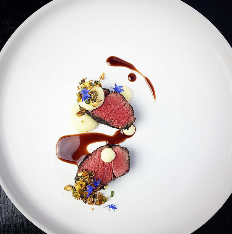 Lamb Rump with Parsnip Puree and Anchovy, Parsnip & Cauliflower Crumble