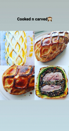 Duck en croute/wellington, cauliflower cheese and spiced red wine sauce.  Duck wellington/ en croute. Duck breast, smoked wild mushroom duxelle, procisutto, spinach sourdough crepe and all wrapped in puff pastry