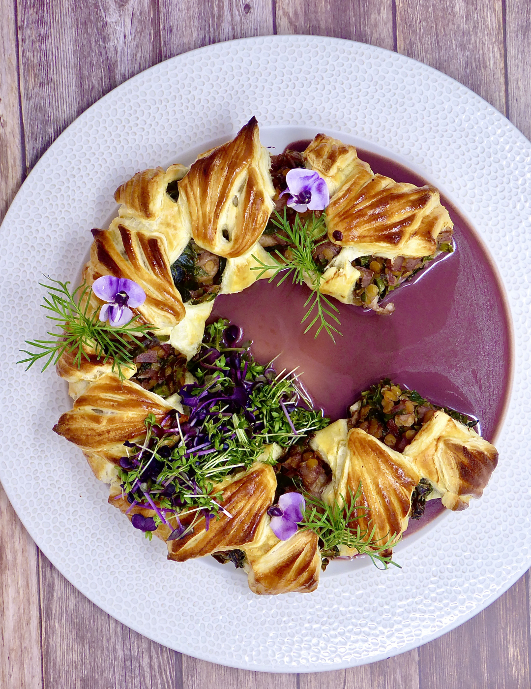Vegetarian puff pastry Christmas Wreath
