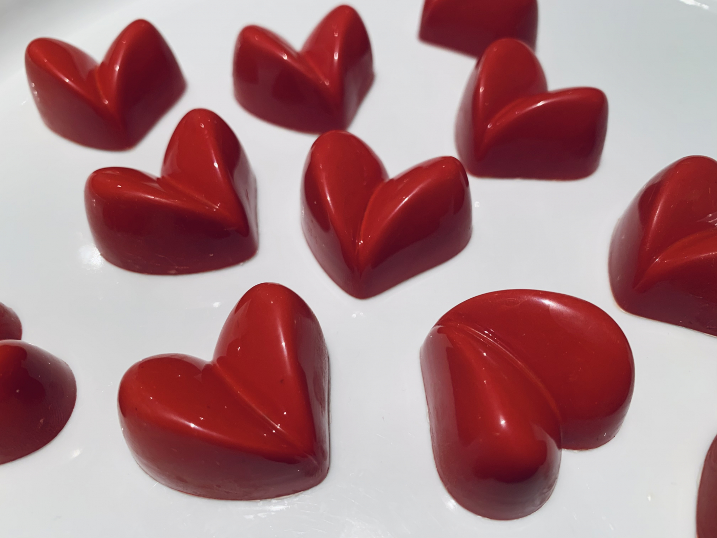 White chocolate and passion fruit heart bonbons.