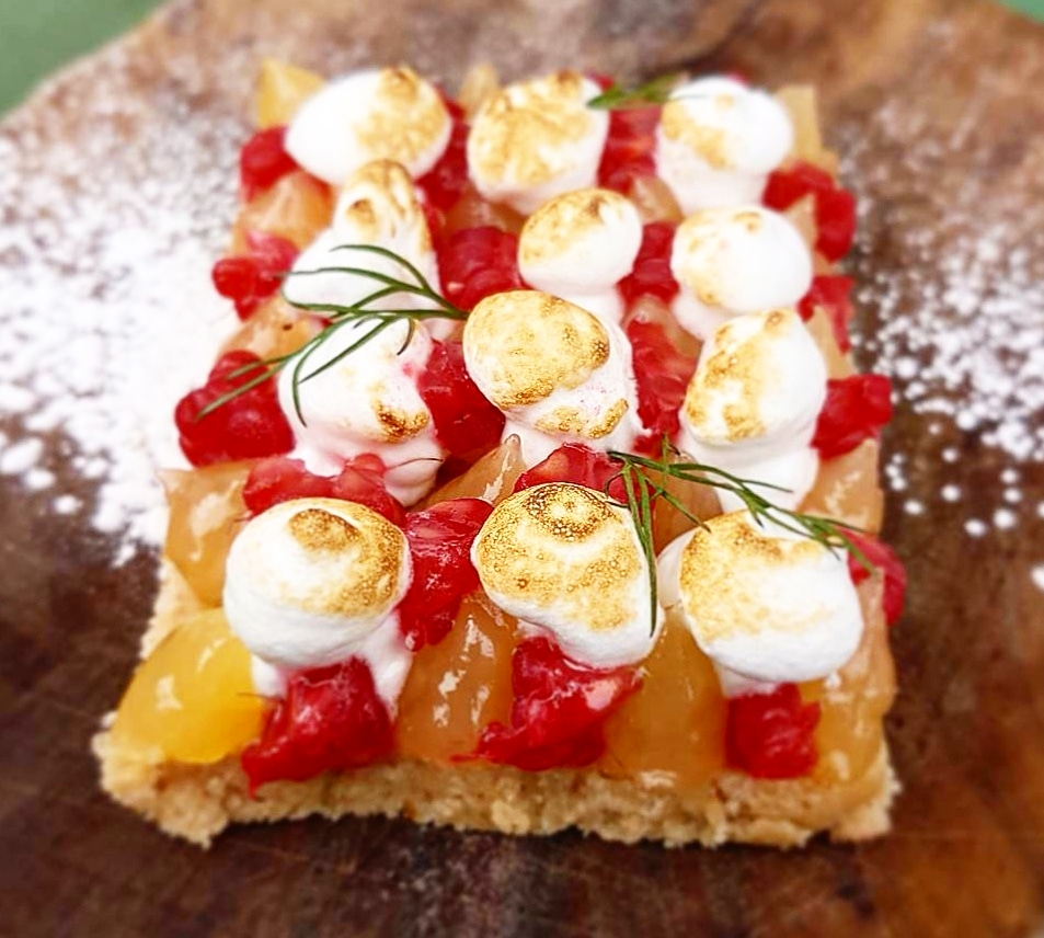 Yuzu, raspberry meringue pie