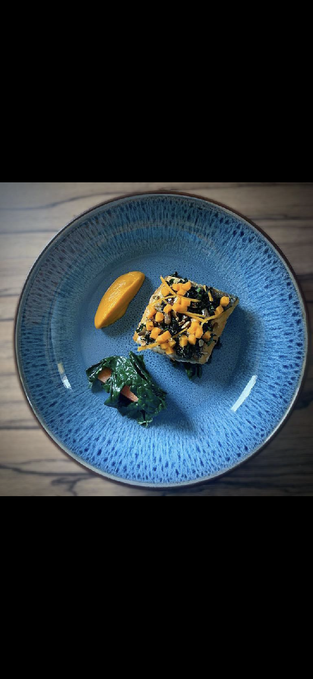 Sea bass, butternut squash, cavlo nero
