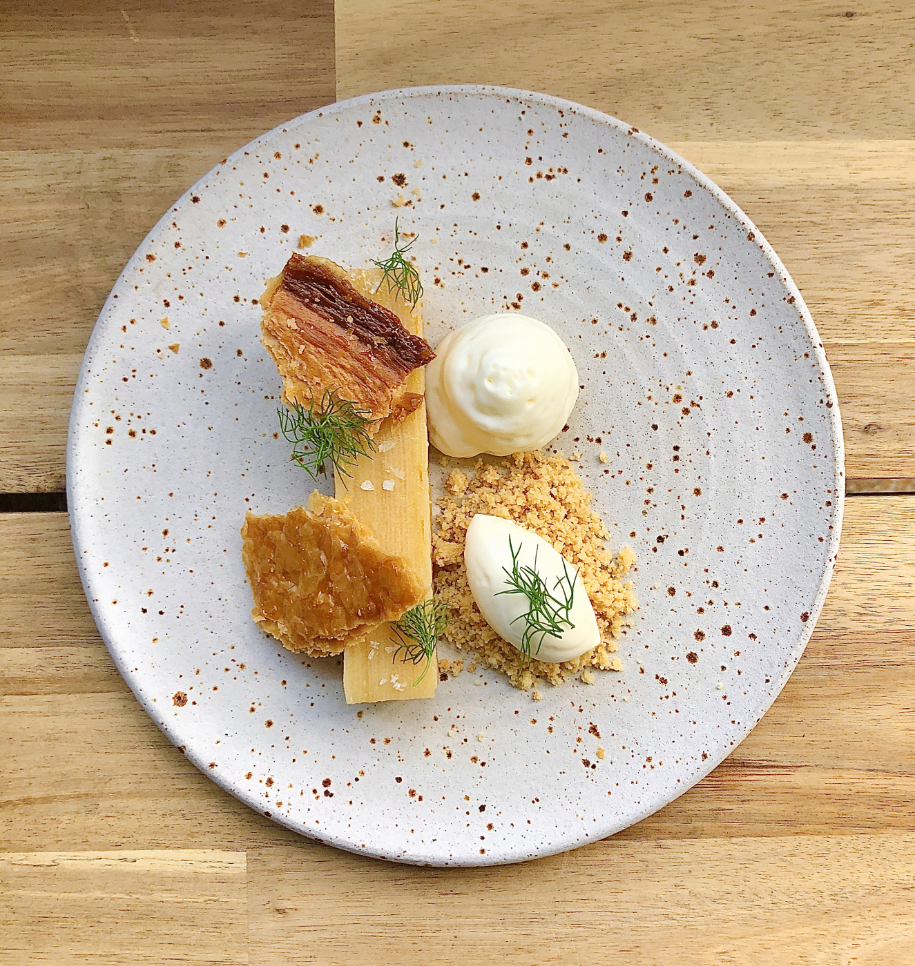 Apple Terrine x Caramelised Puff Pastry x Calvados Emulsion x Almonds Crumb