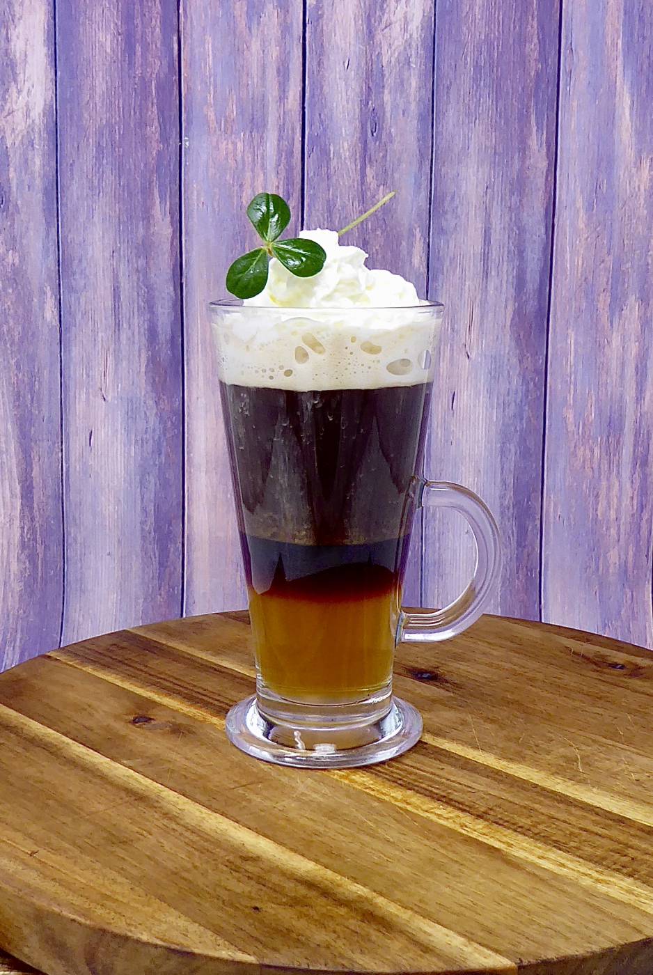 Irish coffee with citra leaves