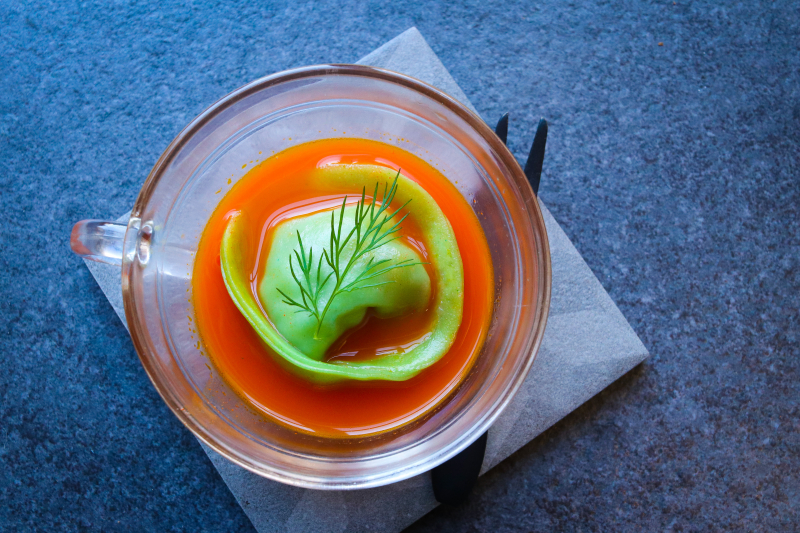 One of my canapés from our sold out events last Friday and Saturday at @tenmallorca, big thank you to everyone who came 🙏 - Lobster and asparagus dumpling, homemade coriander dumpling wrapper, carrot and star anise broth. Ready to sip, slurp, get messy and get involved… 😉  Look out for our next dates in May  to be released soon 👏