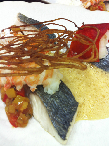 Bass and langoustine