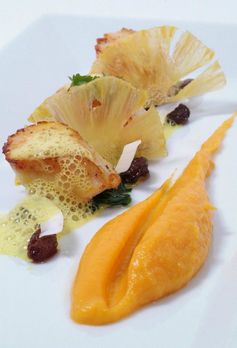 Scallops, Pineapple, Spiced Saltana and Sweet Potato Puree