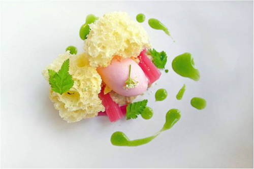 Poached Rhubarb With Meadowsweet Custard Crispy Sponge Sweet Cicely