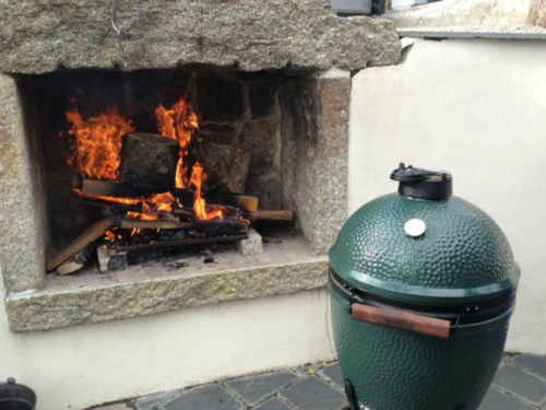Big green egg by the wildfire