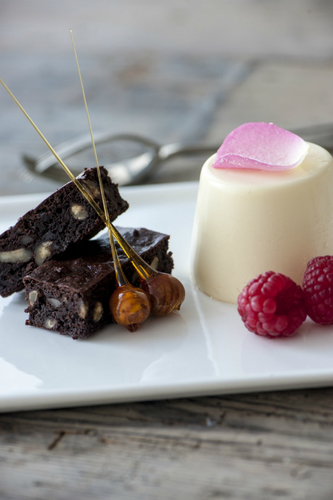 Rosewater Panna Cotta and Dark Chocolate & Brandy Brownies