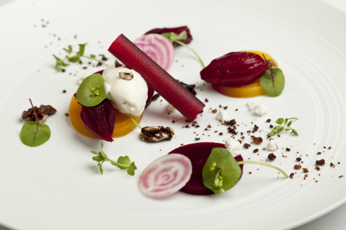 Salad Of Pickled Beetroot Goats Cheese Ice Cream Beetroot Sorbet Walnut And Black Olive Crumb