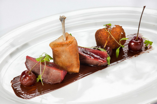 Roast Wood Pigeon Foie Gras Chocolate And Cherries