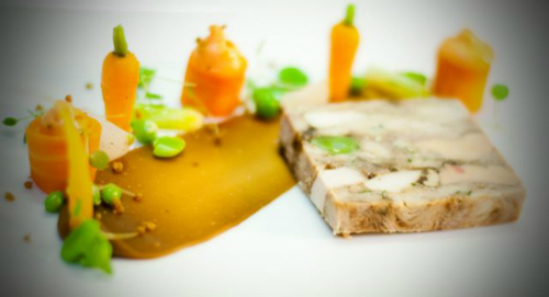 Pressed Terrine Of Cotswold White Chicken Gingerbread Spring Vegetables