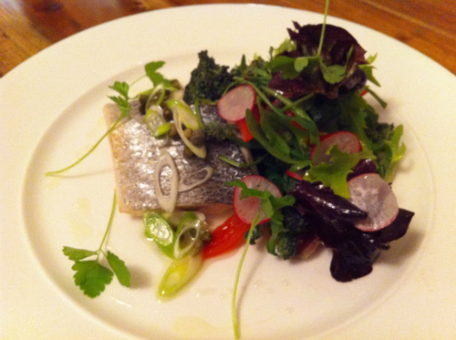 Line caught seabass, radish, purple sprouting broccoli, spring onion and citrus.
