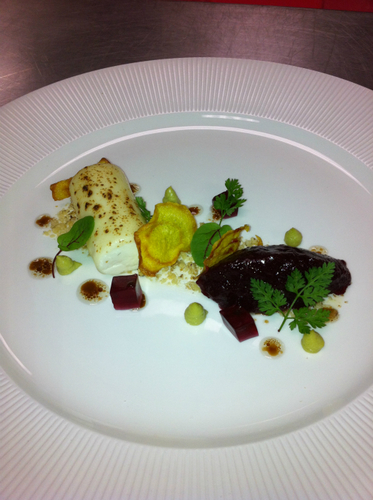 Golden Cross Textures Of Beetroot Avocado Honey Walnuts