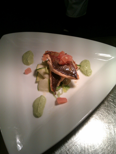 panfried sea trout with fennel mint and pea puree