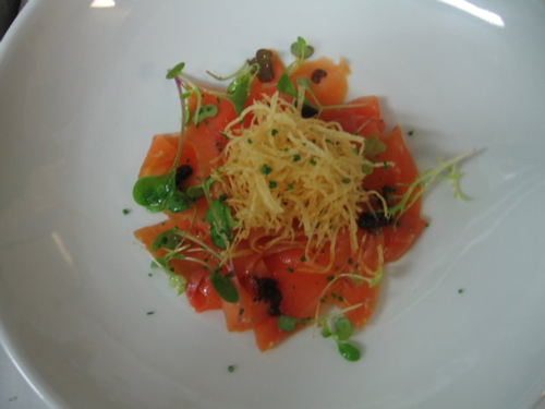 smoked salmon, caviar, potato noodles