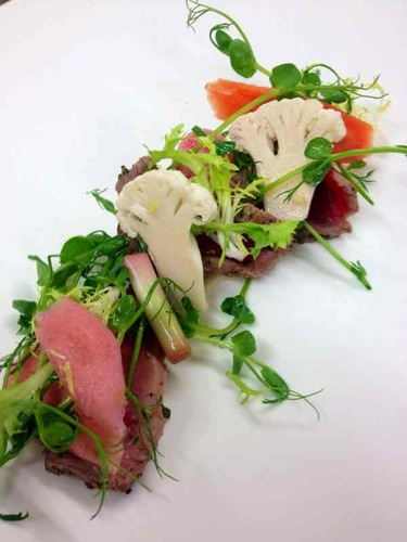 Carpaccio and pickled veg