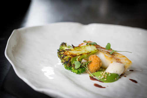 Turbot, Brocoli, sesame, red wine sauce, mussels by John Arandhara-Blackwell