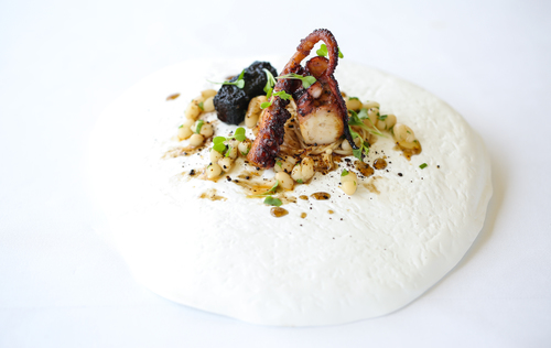 Octopus, miso & black pudding photography by John Arandhara-Blackwell