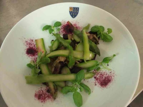 Asparagus, artichoke and beetroot vegetarian course.