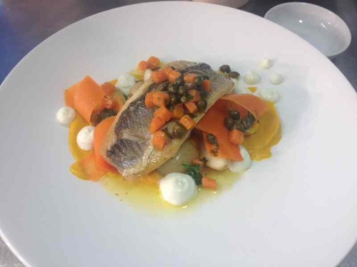 Lunch special in my pub. Sea bass, ricotta , carrot, caper and new potato.
