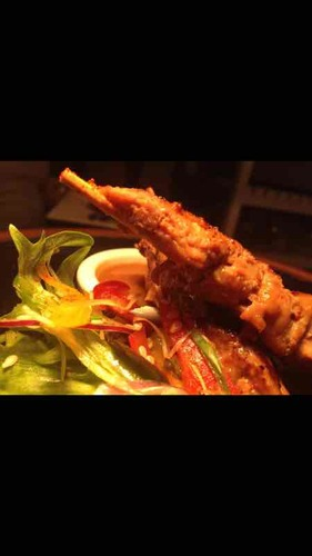 Rabbit satay skewers - spiced peanut dip - oriental salad.