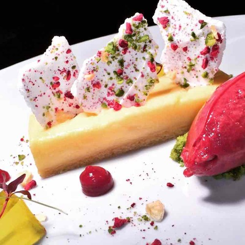 Lemon slice - fruit and nut meringues - raspberry sorbet.