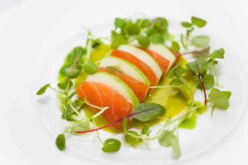 Salmon, Apple, truffle, watercress