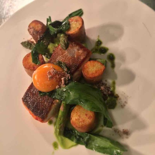 Sea Trout, Asparagus, Egg Yolk