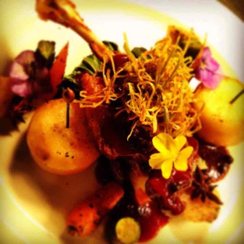 Duck confit, fondant pots, baby turnips cooked in 5 spice & star anise port wine reduction and wilted pak choi