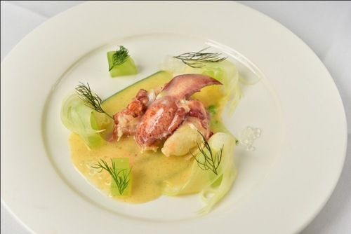 Lobster, Vanilla Beurre Blanc, Fennel and Cucumber.  Pork Tenderloin rolled in Leek Ash, Celeriac, Parsnip and Madeira.