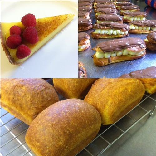 Lemon Tart, Chocolate eclair and brioche