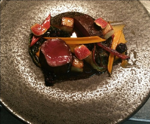 Venison, fig, celeriac and heirloom carrot