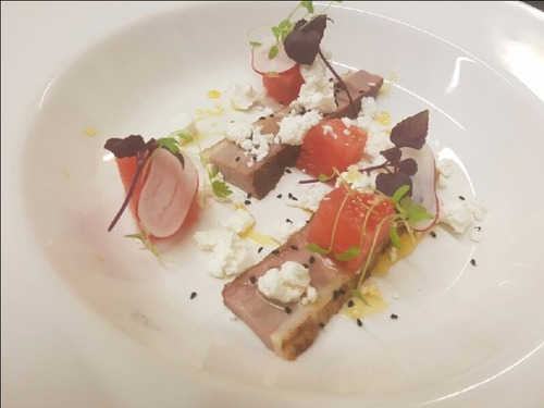 Home cured duck breast aged feta and compressed watermelon Cointreau syrup