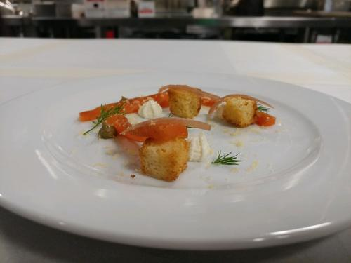 Plate of the day: house cured salmon with caper purée and cream cheese, cured egg yolk and brioche croutons