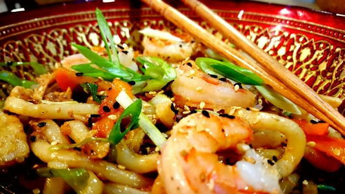 Spicy chicken and shrimp udon.